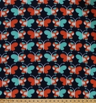 Fleece Allover Multi-Colored Butterflies Butterfly on Navy Blue Polka Dots Aqua Coral Kids Fleece Fabric Print by the Yard (multibutterflyf)