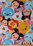 Fleece Mickey and Friends Winnie the Pooh Bear Eeyore Tigger Stitch Minnie Mouse Dumbo Faces Allover Toss Kids Fleece Fabric Print by the Yard (60234-A620710s)
