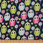 Micro Plush Minkee-like Blue Owls Owl Lime Aqua Pink Allover Cuddle Baby Blanket Kids Fabric By the Yard (2574M-5N)