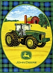 Fleece John Deere Tractors Farmer Farming Black Watch Fleece Fabric Panel (p1560576m)
