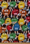 M&Ms Candy Packed Candies on Brown Fleece Fabric Print by the Yard k41093-2160310s
