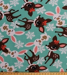 Fleece Deer Fawn Fawns Bunny Bunnies Rabbit Snowflakes Snowflake on Mint Winter Christmas Kids Animal Fleece Fabric Print by the Yard (deersnowflakesf)