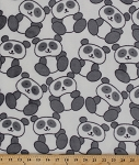 Micro Plush Panda Bears Panda Bear on White Kids Fabric By the Yard (2574M-7N)
