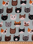 Micro Plush Cat Faces Kittens Kitty Cat Cats Mint Kids Fabric By the Yard  (2783M-7N)