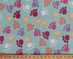 Micro Plush Minkee-like Cuddle Mint Green Multi Paw Prints Paws Fabric By the Yard (2950M-9N-mint)
