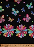 Pre-Smocked Shirred Sundress Fabric Butterflies Butterfly Flowers Floral on Black Fabric By the Yard (13908Z)
