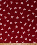 Fleece White Stars Star on Red Patriotic Fleece Fabric Print by the Yard (3004S-9N-RED)