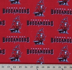 **Imperfect** Tampa Bay Buccaneers NFL Pro Football Red Cotton Fabric Print