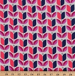 Joel Dewberry Flora Tulips Tulip Flowers Flower Floral Pink Coral Rayon Fabric by the Yard (RAJD006.8ORCH)