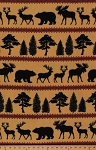 VelvaFleece Northwood Moose Elk Bear Pine Tree Black Silhouette on Camel Animal Wildlife Camping Striped Fleece Fabric Print by the Yard (o44514-1b)