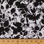 Cotton Pinwale Pique' Black Floral Flower on White Fabric by the Yard (9870T-12M)