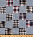 Plaid Patchwork Blue Red Black Yellow Cotton Fabric By the Yard (9630T-11MPATCH)