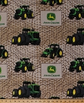 John Deere Topographic Farmland Tractors Tractor Logo Super Tractor Farmer Farming Flannel Fabric Print by the Yard (59373-A620710)