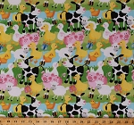 Flannel Farm Animals Cows Ducks Pigs Sheep Lambs Butterflies Bumblebees Fluffy Farm Scene Kids Flannel Fabric By the Yard (108-1141)