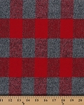 Flannel Mammoth Red Gray Plaid Crepe Flannel Fabric By the Yard (SRKF-15599-3RED)