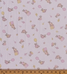 Cotton Blend Jersey Knit Baby Balloon Bears Pink Yellow on White Stretch Fabric By the Yard (2751M-7N)