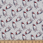 Cotton Knit Penguins in Earmuffs Snow Winter Shorts Print by the Yard- White (9083F-9M)