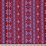 Cotton Stretch Knit Winter Christmas Snowflakes Sweater-look Print Stretch Fabric by the Yard- Red (9083F-9M)