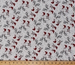 Jersey Knit Reindeer Christmas Snowflakes on White Stretch Knit By the Yard (3011F-9N-reindeer)