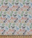 Cotton Blend Jersey Multi Bikes Bike Bicycles White Stretch Knit Fabric by the Yard (5073F-4K)