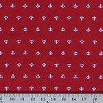 Cotton Jersey Knit Nautical Anchors Red Fabric by the Yard- Red (8757F-6M)