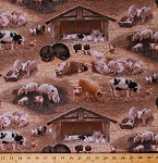 Cotton Pigs Piglets Piggies Hogs Boars Barnyard Fowl Chickens Barns Farming Farm Animals Brown Cotton Fabric Print by the Yard (338brown)