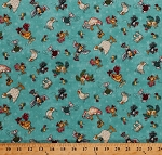 Cotton Birds Chickens Roosters Flamingos Ducks Cockatoos Mouse Mice Animals Yarn Stars Knitting No Fowl Play Cotton Fabric Print by the Yard (8715-16)