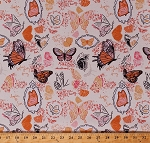 Cotton Butterfly Butterflies Insects Bugs Nature Sketches Drawings Words Quotes Monarchs Spring Girls Orange Cotton Fabric Print by the Yard (DC7311-ORAN-D)