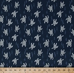 Cotton Sea Turtles Reptiles Swimming Water Stream River Sea Ocean Animals Navy Blue Cotton Fabric Print by the Yard (zd-59881-001)