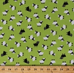 Cotton Sheep Lambs Cute Farm Animals White Black Sheep on Green Urban Zoologie Minis Kids Cotton Fabric Print by the Yard (AAK-16533-7Green)
