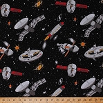 Cotton Spaceships Space Ships Astronauts Rockets Satellites Spacecraft Outer Space Stars Spacewalk Glow in the Dark Black Cotton Fabric Print by the Yard (9028G-099BLACK)