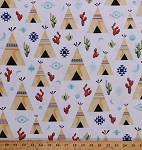 Cotton Teepees Tipis Tents Desert Cactus Cacti Crescent Moons Desert Southwest Southwestern Native Americans Plains Indians Cotton Fabric Print by the Yard (P4338-193-desert)