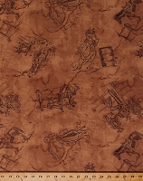 Cotton Western Rodeo Horses Cowboys Cowgirls Ranch Bucking Broncos Cattle Bulls Saddles Fences Gear Southwest Southwestern Rodeo Up! Equestrian Cotton Fabric Print by the Yard (8557-035-TAN)