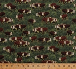 Cotton Cows Bulls Farm Animals Bovine Farming Scenic Pasture Field Green Grass Grazing Country Cattle Drive Cotton Fabric Print by the Yard (41779-1)