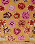 Cotton Large Flowers Floral Blossoms Botanical Gardening Spring Summer Kaffe Fassett Big Blooms Yellow Pink Polka Dots Cotton Fabric Print by the Yard (3759R-2A)