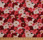 Cotton Roses Flowers Allover Red Pink White Floral Valentine's Day Cotton Fabric Print by the Yard (ZD-51851-001)