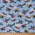 Cotton Planes Airplanes Biplanes Aircraft Flying Vehicles Transportation Travel Blue Sky Clouds Aviation Kids Children's Cotton Fabric Print by the Yard (BD-49228-A01)