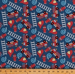 Cotton Firefighters Firetrucks Fire Fighters Trucks Emergency Vehicles Equipment Ladders Hoses Fire Hydrants Hats Helmets Firemen Blue Cotton Fabric Print by the Yard (BD-49212-A01)