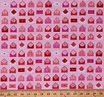 Cotton Valentines Love Letters Envelopes Messages Hearts Sealed With a Kiss Pink Valentine's Day Cotton Fabric Print by the Yard (AWN-15402-287SWEET)