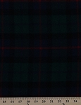 100% Wool Coating Plaid Red Black Blue Green Check Fabric By the Yard (2194S-2N)