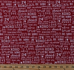 Cotton Valentine's Day Words Sayings Phrases Hearts XOXO I Love You Typography Fonts First Crush Sweetwater Red White Cotton Fabric Print by the Yard (5607-22)