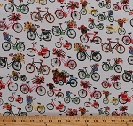 Cotton Bicycles Bikes Flowers Flower Bunches Baskets Floral Spring Summer Transportation Flower Petals Vintage Colorful Bikes on White Cotton Fabric Print by the Yard (41249-X)