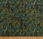 Cotton Peacock Feathers Plumes Plumage Peacocks Peafowl Birds Nature Blue Green Peacock Arbor Cotton Fabric Print by the Yard (WA-4026-5C-1GREEN)
