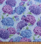 Cotton Hydrangeas Hydrangea Purple Blue Flowers Floral Blossoms Blooms Gardening Gardens Botanical Harmony Cotton Fabric Print by the Yard (HARMONY-C5225-SKY)