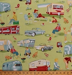 Cotton Camping Retro Campers Trailers Classic Cars Barbecue BBQ Grills Family Vacation Dogs Trailer Travel Green Cotton Fabric Print by the Yard (CX3978-MULT-D)