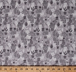 Cotton Cats Kittens Animals Potted Plants Feline Gray Cotton Fabric Print by the Yard (STELLA-SRR610)
