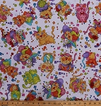 Cotton Happy Cats Comic-Look Kittens Animals Pets Hats Flowers Confetti White Cotton Fabric Print by the Yard (1649-24415-X)