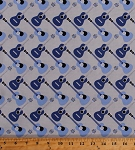 Cotton Blue Guitars Musical Instruments Music Guitarists Musicians Gray Cotton Fabric Print by the Yard (41058-3)