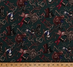 Cotton Horse Riding Gear Dressage Saddles Riding Boots Horseshoes Horse Shoes Jockeys Equestrian Green Cotton Fabric Print by the Yard (4308R-7A-green)