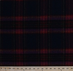 Wool Blend Plaid Fabric Red Navy Purple Yellow Wool Fabric By the Yard (6394T-12K)